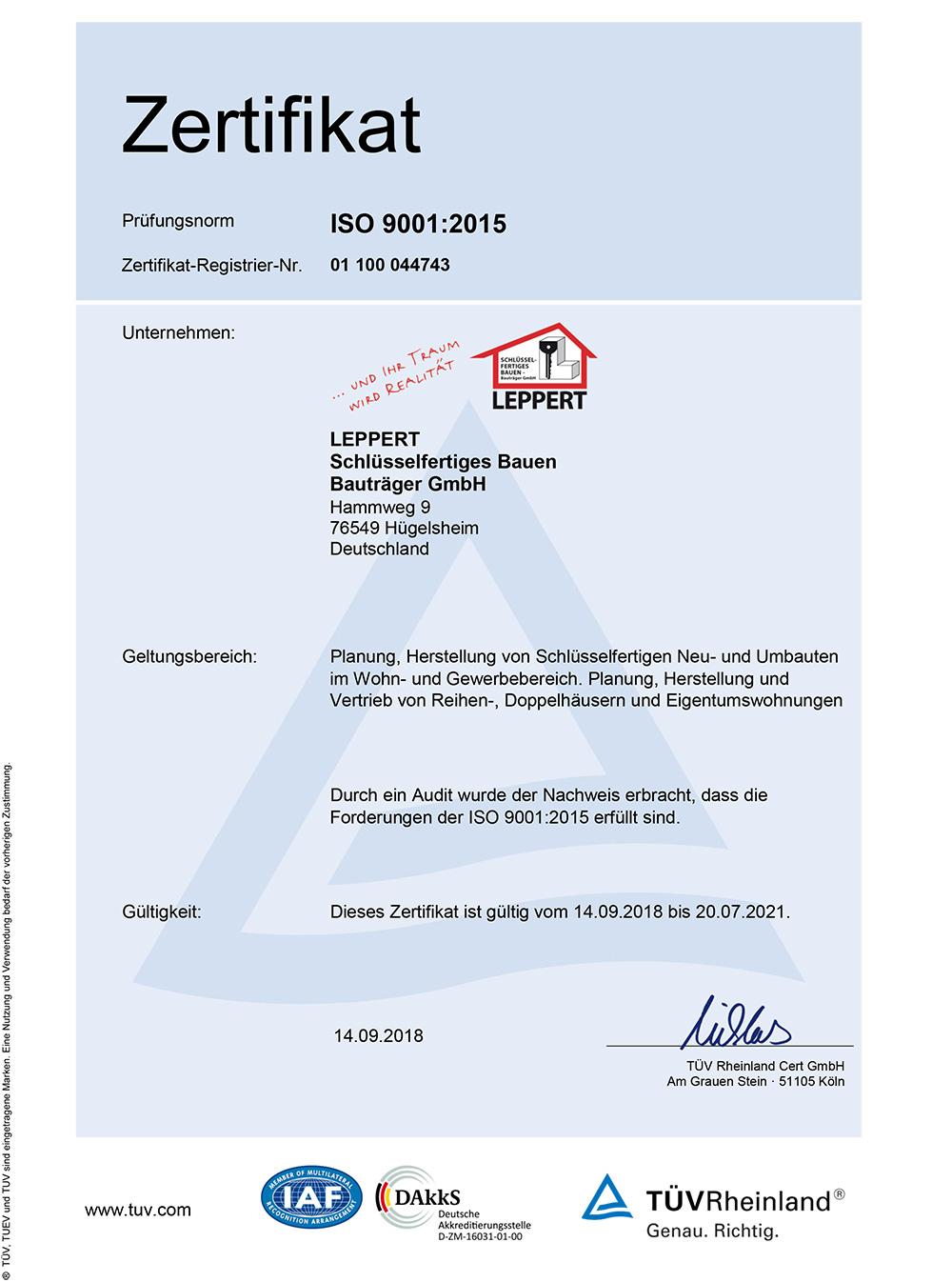 Zertifikat SF-Leppert